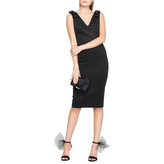 Item - Black Belliah Embellished Bow Bodycon Sheath Mid-length Cocktail Dress Size 10 (M)