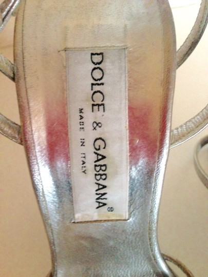 Dolce&Gabbana Italy Leather High Heels Strappy Silver Pumps