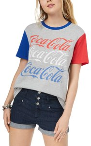 Hybrid Apparel Juniors Color-blocking Coca Cola Print T Shirt Heather Grey