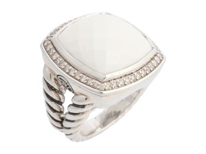 David Yurman White Agate and Diamond Sterling Silver Albion Ring