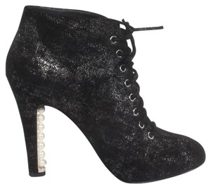 Chanel Ankle Lace Leather BLACK Boots