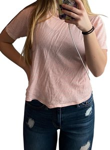 PacSun T Shirt pink and white