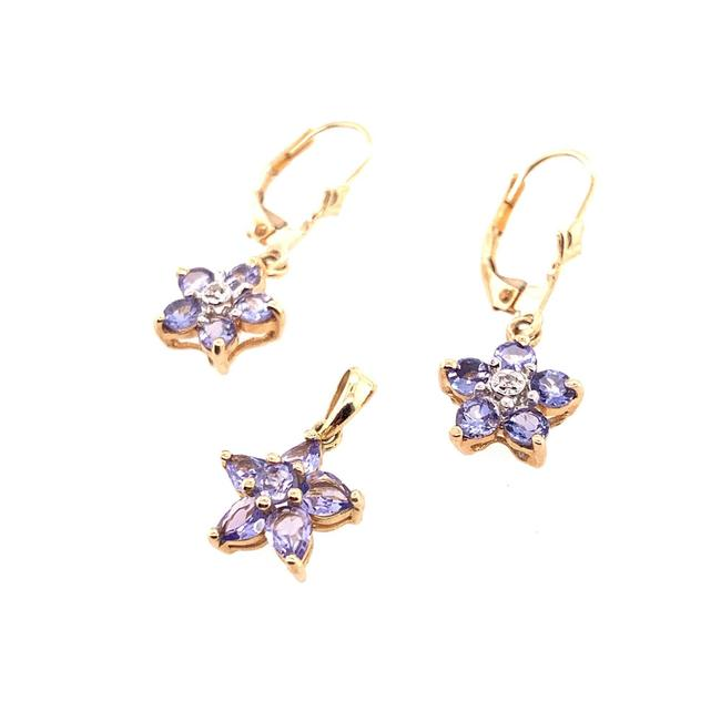 Item - Gold 1k Tanzanite Flower Shaped Earrings and Pendant Set