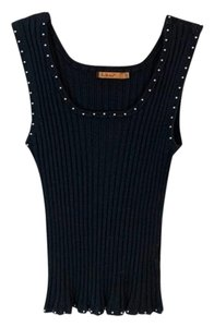 Belldini Knit Ribbed Studded Top Black