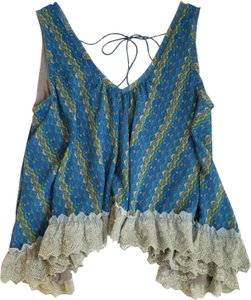 Free People Top blue and olive multi
