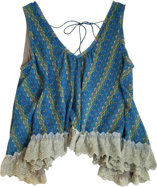 Item - Blue and Olive Multi Oversized Cutout Back Tank Top/Cami Size 2 (XS)