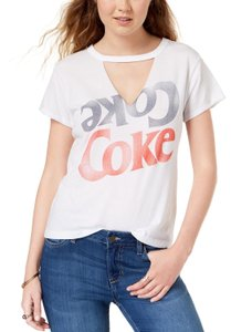 Mighty Fine Coke Graphic Choker Cut Out T-shirt T Shirt White