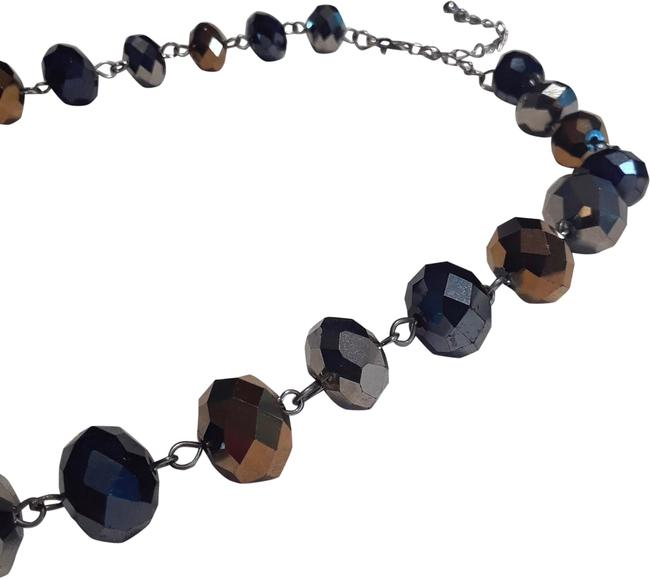 Item - Blue Gold Silver Beaded High Sparkle Multi-faceted Stone Choker Necklace
