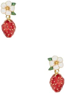 Kate Spade Kate Spade Picnic Perfect Strawberry Drop 12k Plated Earrings