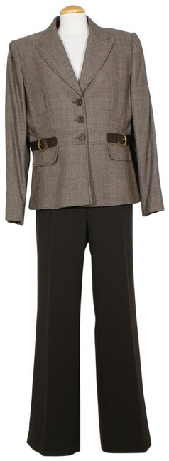 Item - Brown Beige Wool Belt Detail Crepe Wide Leg 14w Pant Suit Size 14 (L)