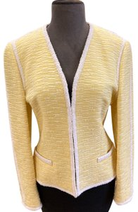Escada Classic Wool Wool Blend Yellow & White Blazer