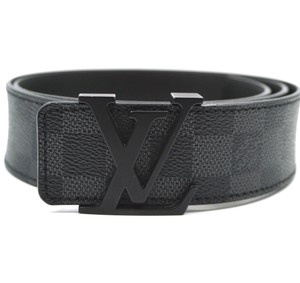 Louis Vuitton Damier Graphite 40mm LV logo Black initials Belt Size 90 36