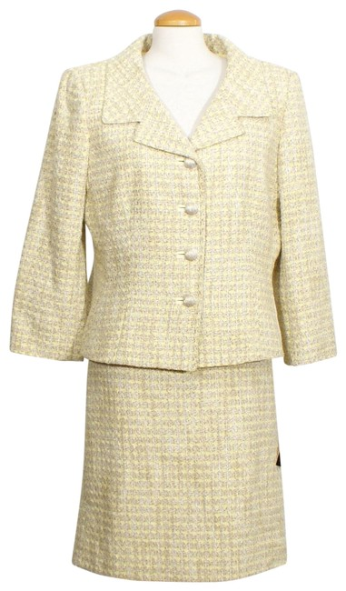Item - Yellow Brown Shimmer Woven Houndstooth Cotton Blend Skirt Suit Size 16 (XL, Plus 0x)