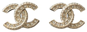 Chanel Gold Classic Cc Crystal Earrings