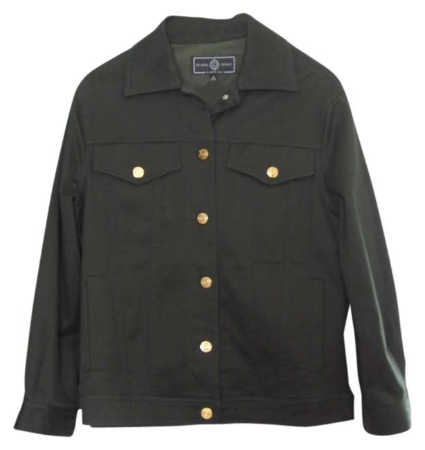 St. John Engraved Gold Tone Buttons Made In U.s.a Dark Green Womens Jean Jacket