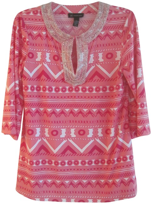 Item - Pink and White Beaded Blouse Size 12 (L)