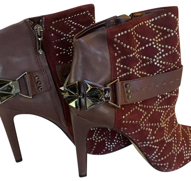 Item - Burgundy Studded Leather Boots/Booties Size US 6 Regular (M, B)