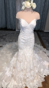 Allure Bridals Ivory/Silver Lace 9407 Traditional Wedding Dress Size 16 (XL, Plus 0x)