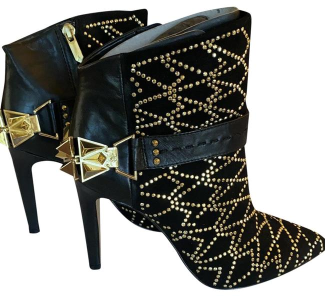 Item - Black and Gold Studded Boots/Booties Size US 6 Regular (M, B)