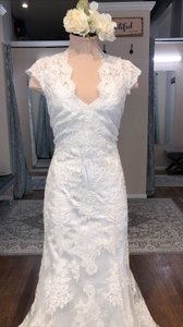Allure Bridals Ivory/Ivory Lace and Charmeuse 2455 Vintage Wedding Dress Size 12 (L)