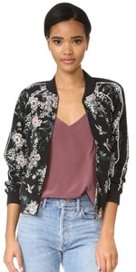 Joie Silk Quilted Bomber Floral Black Jacket