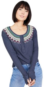 Free People T Shirt Gray Blue