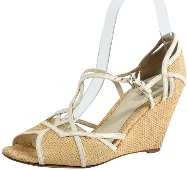 Item - White Woven Strappy Wedges Size US 6.5 Regular (M, B)