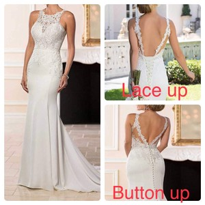 White Or Ivory Backless Mermaid Lace Appliqué Lace Up Or Button Up Back. Sexy Wedding Dress Size OS (one size)