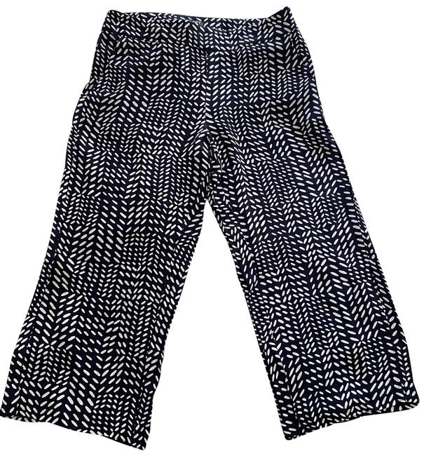 Ann Taylor LOFT Navy and White Print Pants Size 6 (S, 28) Ann Taylor LOFT Navy and White Print Pants Size 6 (S, 28) Image 1