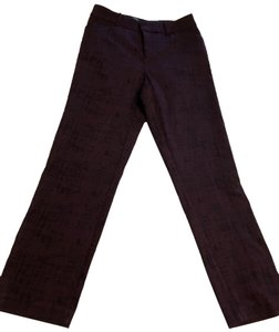 Lord & Taylor Straight Pants Burgundy with black print