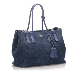 Prada 0eprto006 Vintage Fabric Tote in Blue