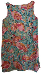 Lilly Pulitzer short dress aqua pink Peel And Eat Flamingo Shift on Tradesy
