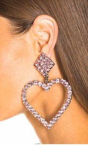 Alessandra Rich Rare ALESSANDRA RICH Pink Crystal Heart Earrings