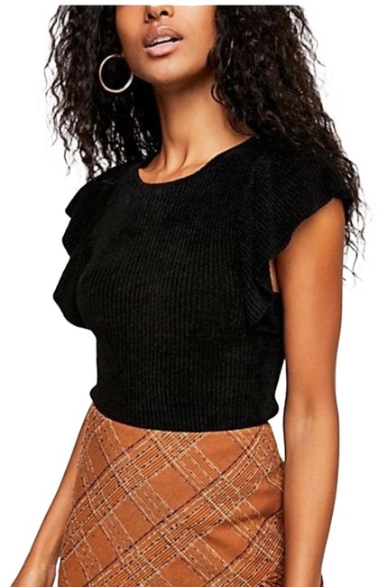 Free People Nikita Ribbed Ruffle Black Top Free People Nikita Ribbed Ruffle Black Top Image 1