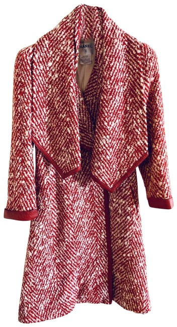 Item - Red and Cream Vintage Leather Trimmed Bouclé Coat Size 8 (M)