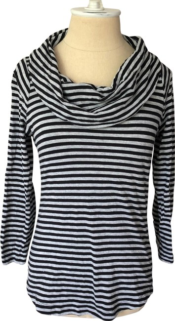 Item - Black and Gray Cowl Neck Organic Cotton Striped Tee Shirt Size 2 (XS)