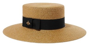 Gucci Papier lame Bee embellished grosgrain straw hat size large