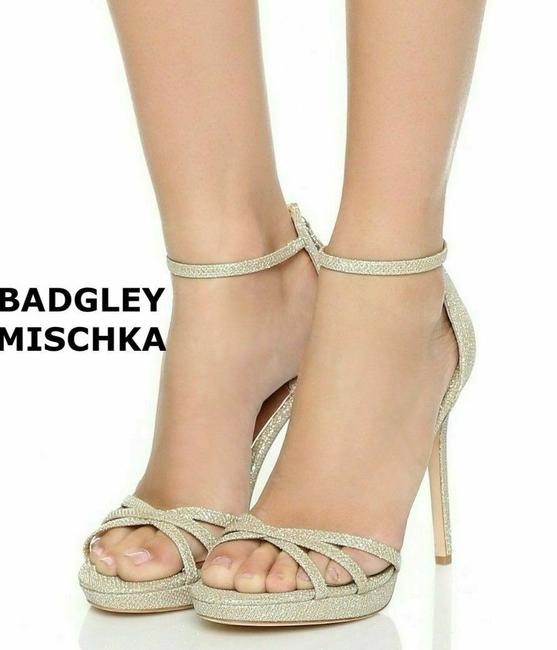 Badgley Mischka Gold Ankle Strap Platform Heel Glitter Sandals Size US 7 Regular (M, B) Badgley Mischka Gold Ankle Strap Platform Heel Glitter Sandals Size US 7 Regular (M, B) Image 1
