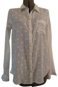 Trovata Sheer Cotton Polka Dot Onm001 Button Down Shirt white