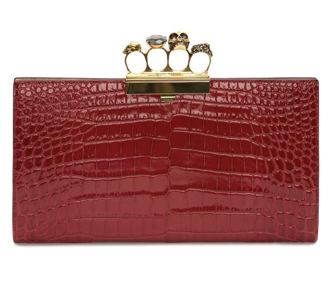 Item - Skull Knuckle Duster Red Raspberry Embossed Croc Calfskin Leather Clutch