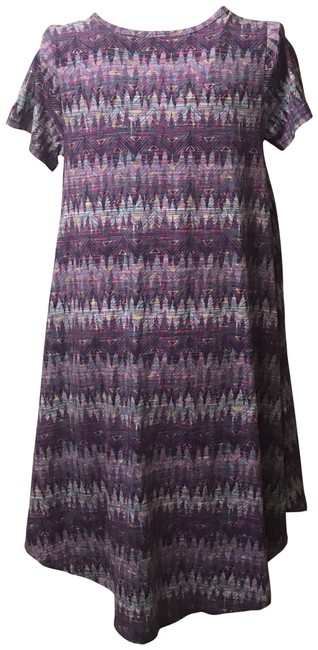 Item - Purple Women's Abstract Geometric Design Stretch (Small) Mid-length Short Casual Dress Size 6 (S)