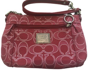 Coach 1941 Metallic Leather Wristlet in Pink