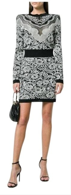 Item - Black and White Baroque Western Short Night Out Dress Size 6 (S)