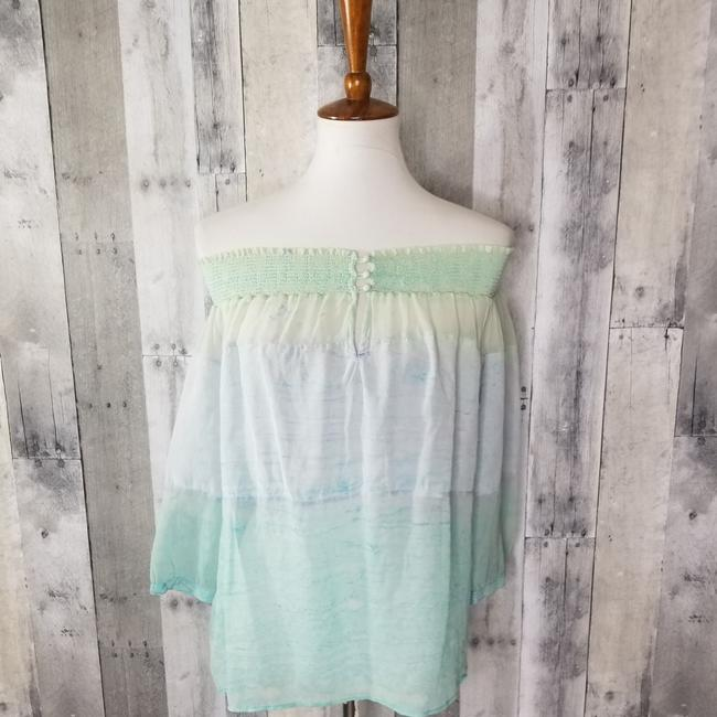 Item - Turquoise Combo Ceres Smocked Silk Blouse Size 6 (S)