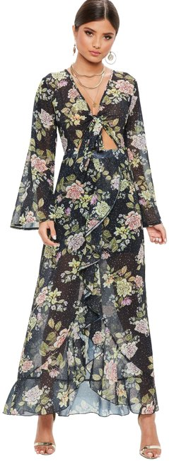Item - Black Floral Tie Front Maxi Us10 Long Night Out Dress Size 10 (M)