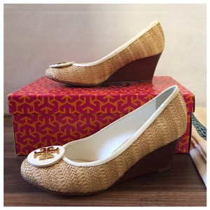 Tory Burch Natural/White Wedges