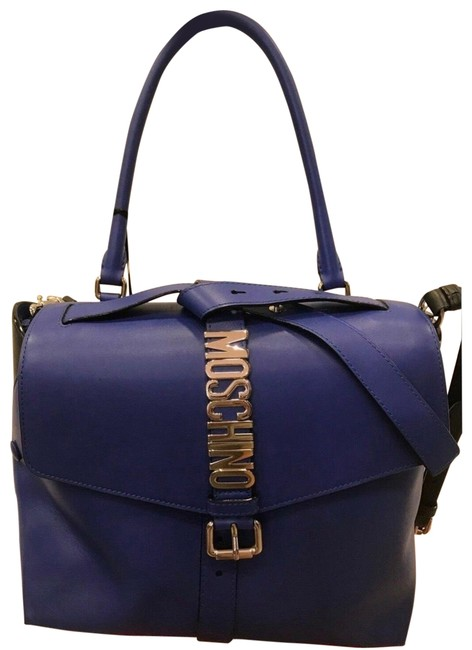 Moschino Aw16 Couture Jeremy Scott Blue Leather Silver Logo Elegant Tote Moschino Aw16 Couture Jeremy Scott Blue Leather Silver Logo Elegant Tote Image 1