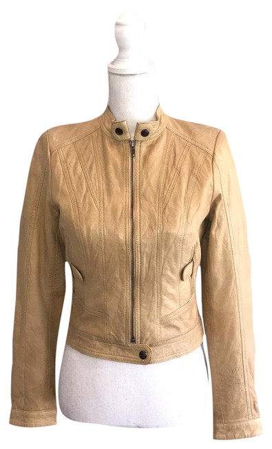 Item - Nude W Yellow Undertones Scuba Genuine Leather Jacket Blazer Size 4 (S)