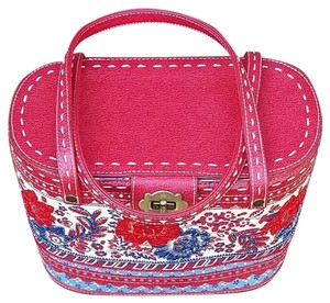 Isabella Fiore Basket Embroidered Leather Canvas Summer Tote in Red