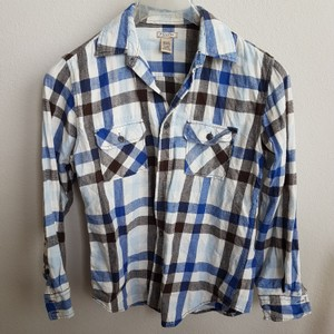 Arizona Jean Company Button Down Shirt Blue, black, and white plaid